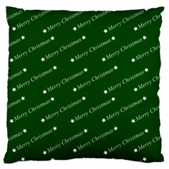 Merry Christmas,text,green Large Flano Cushion Cases (two Sides)  by ImpressiveMoments