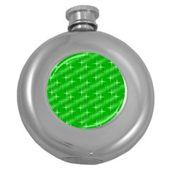 Many Stars, Neon Green Round Hip Flask (5 Oz) by ImpressiveMoments