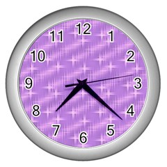 Many Stars, Lilac Wall Clocks (Silver)