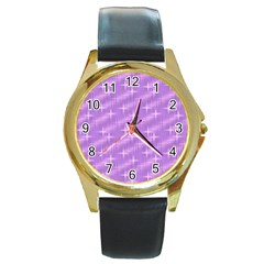 Many Stars, Lilac Round Gold Metal Watches