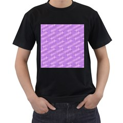 Many Stars, Lilac Men s T-Shirt (Black) (Two Sided)