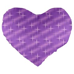 Many Stars, Lilac Large 19  Premium Flano Heart Shape Cushions
