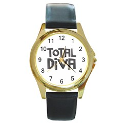 Total Diva  Round Gold Metal Watches by OCDesignss