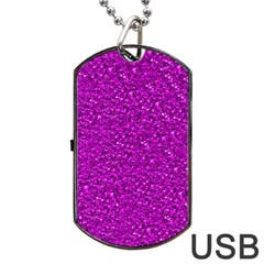 Sparkling Glitter Hot Pink Dog Tag Usb Flash (two Sides)  by ImpressiveMoments