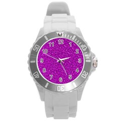 Sparkling Glitter Hot Pink Round Plastic Sport Watch (l) by ImpressiveMoments