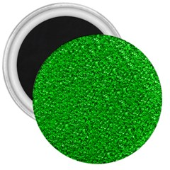 Sparkling Glitter Neon Green 3  Magnets