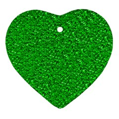 Sparkling Glitter Neon Green Heart Ornament (2 Sides) by ImpressiveMoments
