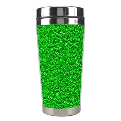 Sparkling Glitter Neon Green Stainless Steel Travel Tumblers by ImpressiveMoments