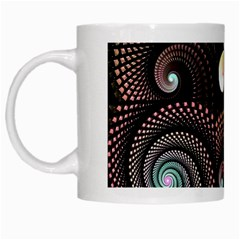 Peach Swirls On Black White Mugs by KirstenStar