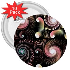 Peach Swirls On Black 3  Buttons (10 Pack)