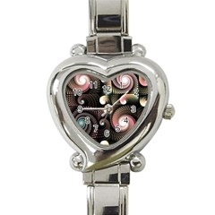 Peach Swirls On Black Heart Italian Charm Watch