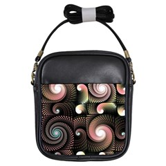 Peach Swirls On Black Girls Sling Bags by KirstenStar