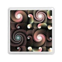 Peach Swirls On Black Memory Card Reader (square)  by KirstenStar