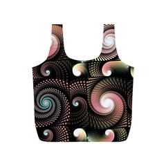 Peach Swirls On Black Full Print Recycle Bags (s)  by KirstenStar