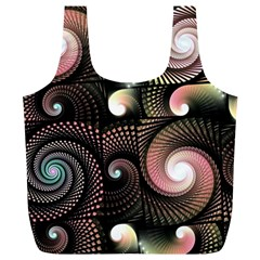 Peach Swirls On Black Full Print Recycle Bags (l)  by KirstenStar