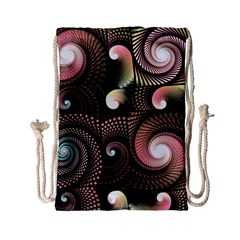 Peach Swirls On Black Drawstring Bag (small) by KirstenStar