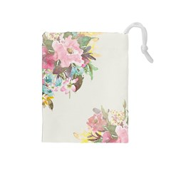 Vintage Watercolor Floral Drawstring Pouches (medium)  by PipPipHooray