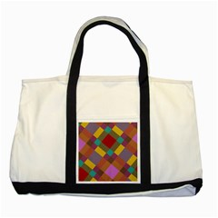 Shapes Pattern Two Tone Tote Bag by LalyLauraFLM