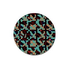 Distorted Shapes In Retro Colors Magnet 3  (round)