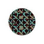 Distorted shapes in retro colors Magnet 3  (Round) Front