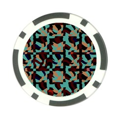 Distorted Shapes In Retro Colors Poker Chip Card Guard (10 Pack) by LalyLauraFLM