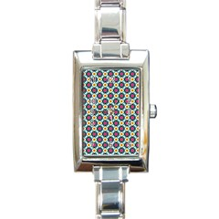 Cute Abstract Pattern Background Rectangle Italian Charm Watches by creativemom