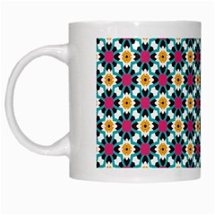 Cute Abstract Pattern Background White Mugs by creativemom