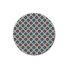 Cute Abstract Pattern Background Rubber Round Coaster (4 Pack)  by creativemom