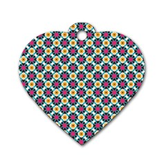 Cute Abstract Pattern Background Dog Tag Heart (two Sides) by creativemom