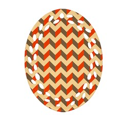 Modern Retro Chevron Patchwork Pattern  Oval Filigree Ornament (2-side)  by creativemom