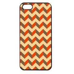 Modern Retro Chevron Patchwork Pattern  Apple Iphone 5 Seamless Case (black) by creativemom