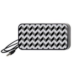 Modern Retro Chevron Patchwork Pattern  Portable Speaker (black)  by creativemom