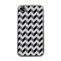 Modern Retro Chevron Patchwork Pattern  Apple Iphone 4 Case (clear) by creativemom