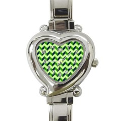 Modern Retro Chevron Patchwork Pattern Heart Italian Charm Watch