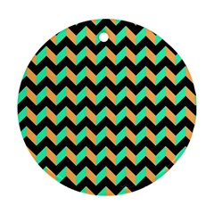 Modern Retro Chevron Patchwork Pattern Ornament (round)  by creativemom