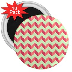 Modern Retro Chevron Patchwork Pattern 3  Magnets (10 Pack)