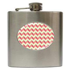 Modern Retro Chevron Patchwork Pattern Hip Flask (6 Oz) by creativemom