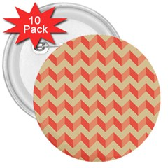Modern Retro Chevron Patchwork Pattern 3  Buttons (10 Pack)  by creativemom
