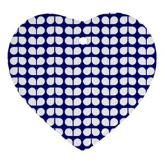 Blue And White Leaf Pattern Ornament (heart)  by creativemom