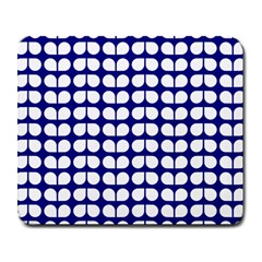 Blue And White Leaf Pattern Large Mousepads by creativemom