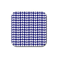 Blue And White Leaf Pattern Rubber Square Coaster (4 Pack)  by creativemom