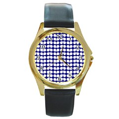 Blue And White Leaf Pattern Round Gold Metal Watches by creativemom