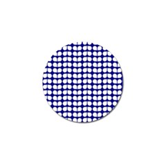 Blue And White Leaf Pattern Golf Ball Marker