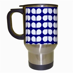 Blue And White Leaf Pattern Travel Mugs (white) by creativemom