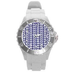 Blue And White Leaf Pattern Round Plastic Sport Watch (l) by creativemom