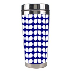 Blue And White Leaf Pattern Stainless Steel Travel Tumblers by creativemom