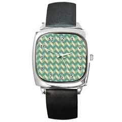 Modern Retro Chevron Patchwork Pattern Square Metal Watches by creativemom