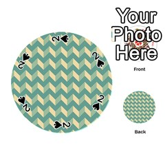 Modern Retro Chevron Patchwork Pattern Playing Cards 54 (round)  by creativemom