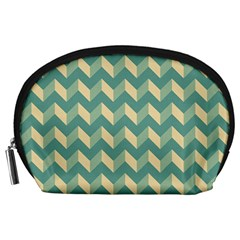 Modern Retro Chevron Patchwork Pattern Accessory Pouches (large)  by creativemom