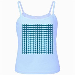 Teal And White Leaf Pattern Baby Blue Spaghetti Tanks by creativemom
